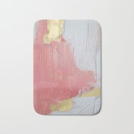 Melody: a pretty minimal abstract painting in gold pink and white by Alyssa Hamilton Art Bath Mat