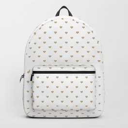 Christmas Gold Love Hearts on White Backpack