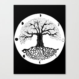 black and white tree of life with moon phases and celtic trinity knot III Canvas Print