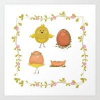 Spring chicks Art Print