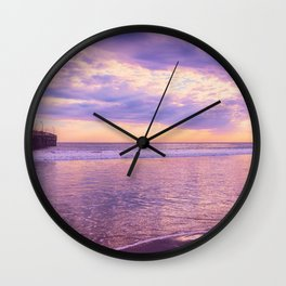 Solace by Sunset Cayucos pier and beach Wall Clock