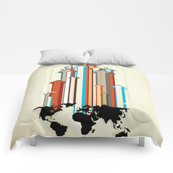 "Glue Network Print Series ""Economic Development"" Comforters"