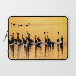 Silhouette of Pink Flamingos Laptop Sleeve