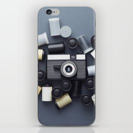 Vintage Photo Camera and photo film rolls iPhone Skin