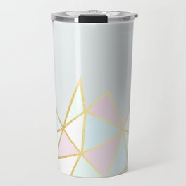 Gold & Pastel Geometric Pattern Travel Mug