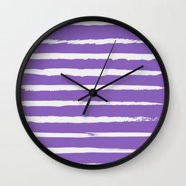 Irregular Hand Painted Stripes Purple Wall Clock
