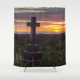 Cross at sunset Shower Curtain