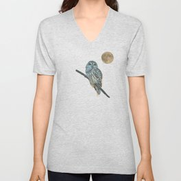 Owl, See the Moon (Barred Owl) Unisex V-Neck