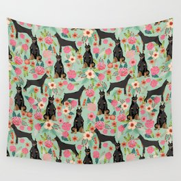 Doberman Pinscher florals must have dog breed gifts for dog person with doberman Wall Tapestry