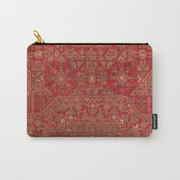 Bohemian Medallion II // 15th Century Old Distressed Red Green Colorful Ornate Accent Rug Pattern Carry-All Pouch