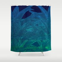swim Shower Curtains featuring Midnight swim by Hipsterdirtbag