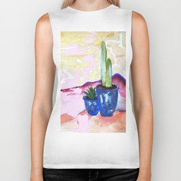 Cactus Watercolor Vibrant Palette - Simple Painting Biker Tank