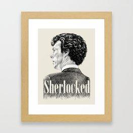 Sherlocked - Sherlock Holmes Benedict Cumberbatch Crosshatch Etching Framed Art Print