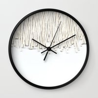 fringe Wall Clocks featuring Fringe by Caitlin Workman