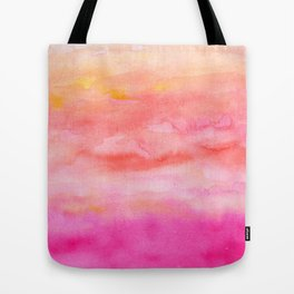 Bright pink orange sunset watercolor hand painted Tote Bag