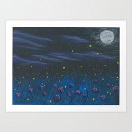 Abstract Firefly Night Art Print