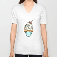 cupcake V-neck T-shirts featuring Cupcake by Matt Ellero
