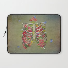 Blooming skeleton on the grunge background  Laptop Sleeve