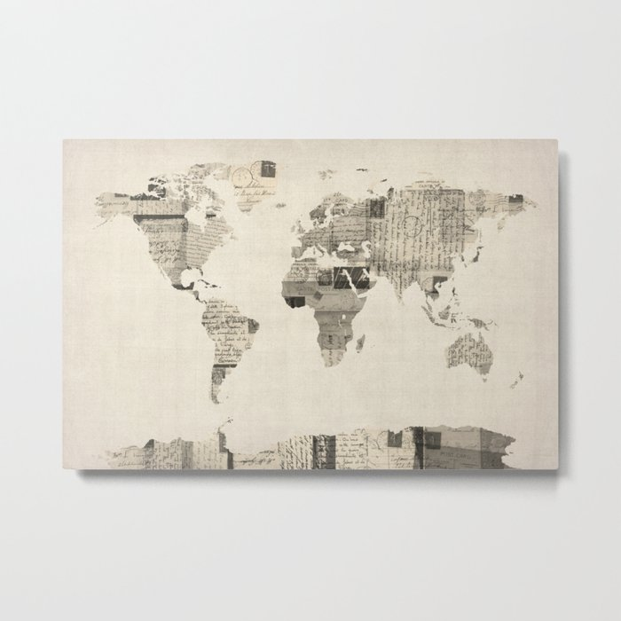 Map of the World Map from Old Postcards Metal Print