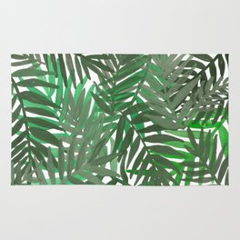 Tropical leaves : Green grey Rug