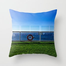 Cruise Ship Grass Area Throw Pillow