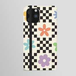Retro Colorful Flower Double Checker iPhone Wallet Case