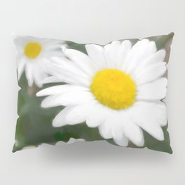 Daisies flowers in painting style 6 Pillow Sham