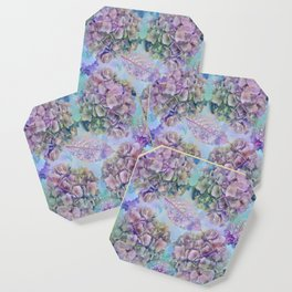 Watercolor hydrangeas and leaves Coaster
