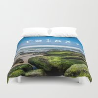 relax Duvet Covers featuring Relax by Michelle McConnell