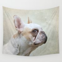 french bulldog Wall Tapestries featuring French bulldog  by Pauline Fowler ( Polly470 )