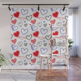 Draw hearts Wall Mural
