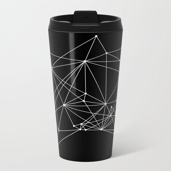 Black Geometric Dots and Lines Metal Travel Mug