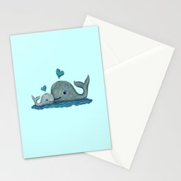 Whale Mom and Baby with Hearts in Gray and Turquoise Stationery Cards
