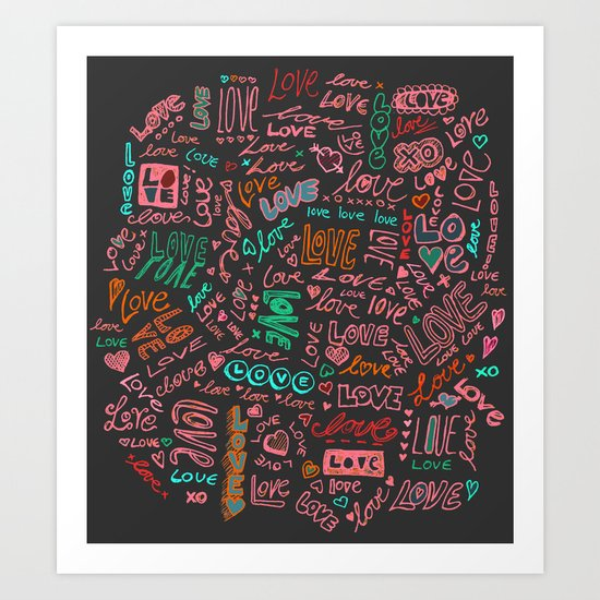 Love Love Love - ballpoint doodles - 2 Art Print