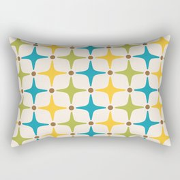 Mid Century Modern Star Pattern 816 Yellow Brown Turquoise Chartreuse Rectangular Pillow