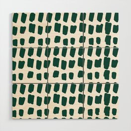 Green Abstract Paint Splotches Wood Wall Art