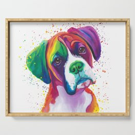 Rainbow Boxer Dog breeed Serving Tray