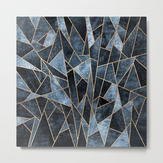 Shattered Soft Dark Blue Metal Print