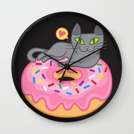 My cat loves donuts 2 Wall Clock