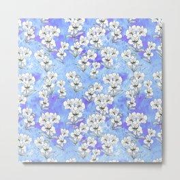 Ink peruvian lilies on blue textured background - seamless pattern Metal Print