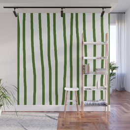 Simply Drawn Vertical Stripes in Jungle Green Wall Mural