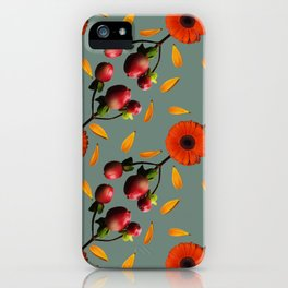 Vintage Style Berry Gerbera Photo Collage Red and Green Seamless Pattern iPhone Case