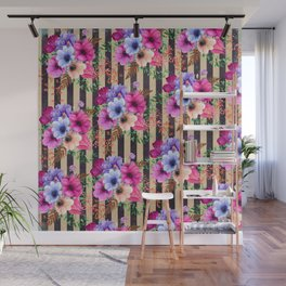 Fragrant Floral Bouquets on Striped Pattern Wall Mural