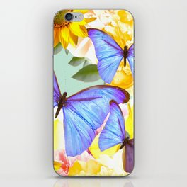 Bright Blue Butterflies Yellow Flowers #decor #society6 #buyart iPhone Skin