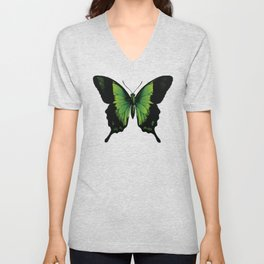 Green Butterfly | Vintage Butterfly | Green and Black | Unisex V-Neck