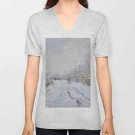 Snow Scene at Argenteuil by Claude Monet Unisex V-Neck