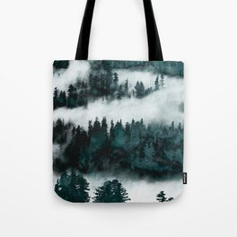 Foggy Forest Fun - Turquoise Mountains Tote Bag