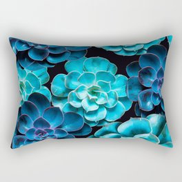 Succulent Plants In Blue And Turquoise Color #decor #society6 #homedecor Rectangular Pillow