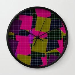 Olive pink plaid Wall Clock