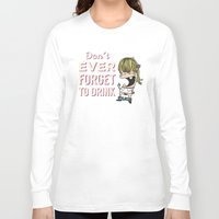 drunk Long Sleeve T-shirts featuring DRUNK GIRL by flydesign